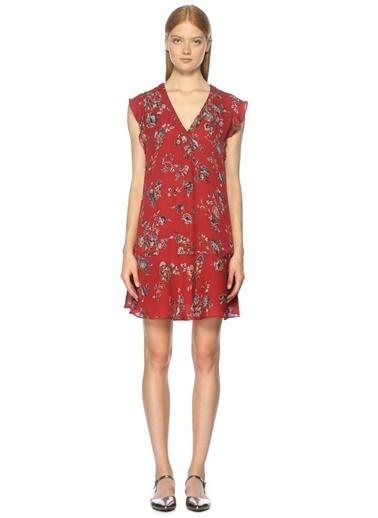 Çiçekli Fırfırlı Kısa Elbise-Joie